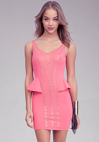 bebe Peplum Studded Dress