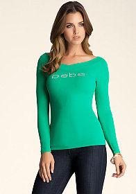 Logo Long Sleeve Tee at bebe