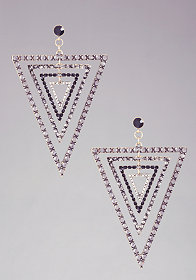 bebe Multi Piece Triangular Crystal Earring