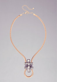 bebe Art Deco Snake Chain Long Necklace