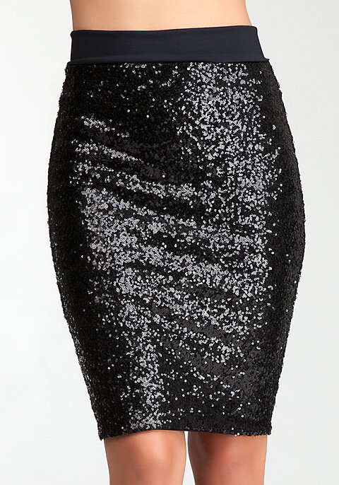 Sequin Midi Skirt - Bottoms | bebe