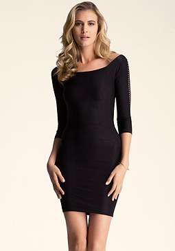 Open Sleeve Shine Bodycon Dress at bebe