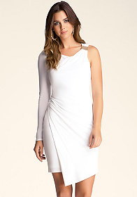 Asymmetric Faux Wrap Dress at bebe
