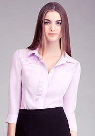 bebe Pintuck Silk Button Up Blouse