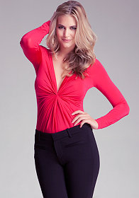 bebe Long Sleeve Front V-Neck Top