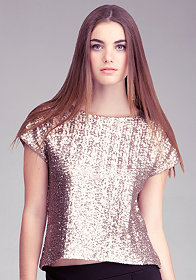 bebe Sequin Boxy Top
