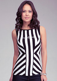 bebe Logo Bold Stripe Sleeveless Boatneck Top