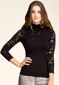 Mock Neck Lace Top at bebe