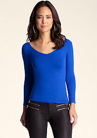 bebe 3/4 Sleeve V Neck Top