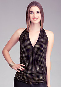 bebe Allover Studded Halter Top