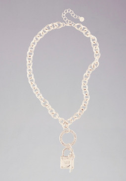 Logo Padlock Key Necklace at bebe