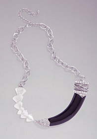 bebe Horn & Chainlink Statement Necklace