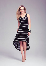 Logo Stripe High Low Dress at bebe