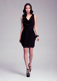 bebe Sleeveless Contrast Cowl Neck Dress