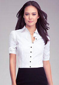 bebe Sofia Pinstripe Button Up Blouse