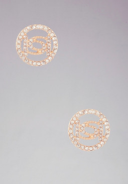 Logo Crystal Stud Earrings at bebe