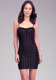 bebe Coated Jersey Binding Dress