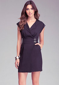 bebe Contrast Shoulder Wrap Dress
