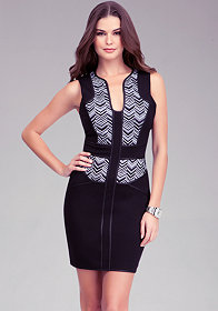 bebe Chevron Panel Ponte Dress