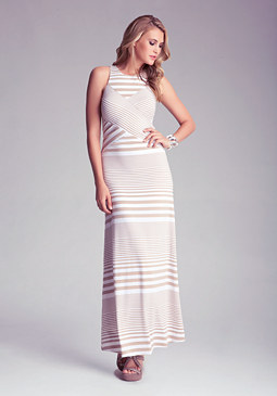 bebe Mixed Striped Maxi Dress