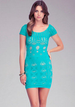 Double Layer Lace Sleeve Dress at bebe