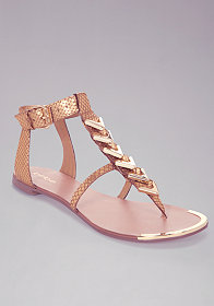 bebe Noelle Chevron Leather Flat Sandal
