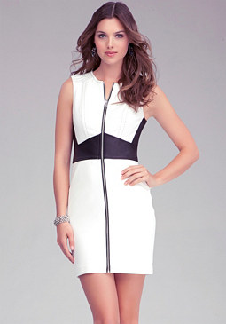 Zipper Leather Waist Dress at bebe
