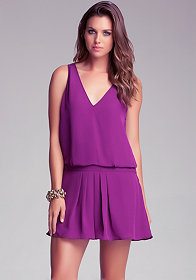 bebe Drop Waist Pleated Silk Dress