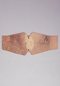 bebe Metallic Suede Turnlock Stretch Belt