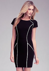 bebe Debbie Crepe Seam Detail Dress