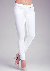 White Floral Jacquard Icon Skinny Jeans at bebe