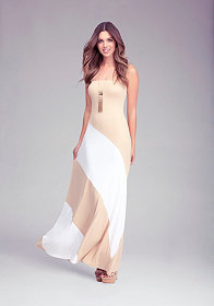 bebe Colorblock Strapless Maxi Dress