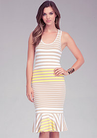 bebe Midi Stripe Knit Tank Dress