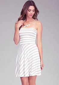 bebe Strapless Fit & Flare Stripe Dress