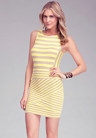 bebe Mixed Stripe Skirt Dress