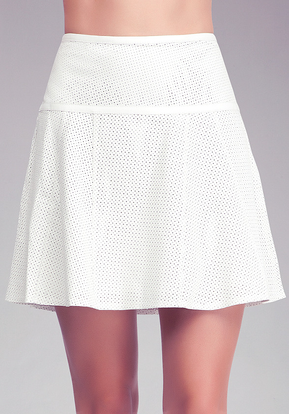 perforated leather flounce skirt bebe