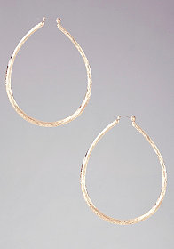 bebe Textured Teardrop Hoop Earring