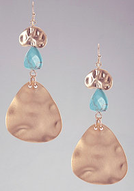 bebe Hammered Metal & Turquoise Earring