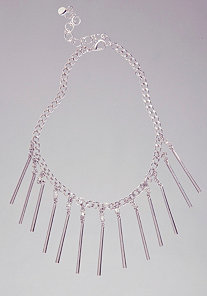 Chain & Crystal Bar Necklace at bebe