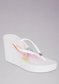 bebe Rose Hi Wedge Flip Flop