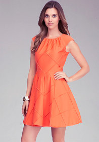 bebe Diamond Fit & Flare Dress