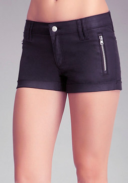 Matte Coated Zipper Shorts at bebe