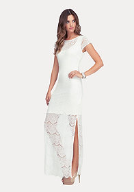 Open Back Lace Maxi Dress at bebe