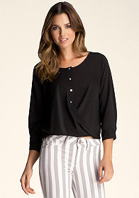 Twist Hem Sheer Blouse at bebe