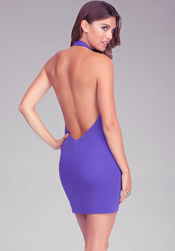 bebe Cinched Front Halter Dress