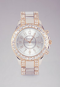 bebe Rhinestone Studded Link Watch