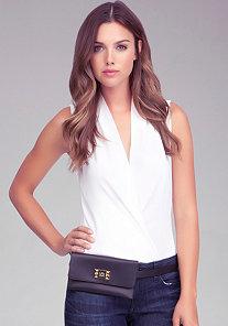 Studded Leather Belt Bag at bebe