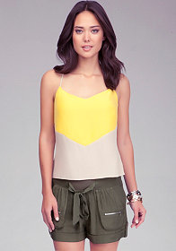 Colorblock Silk Tank at bebe