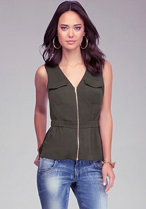 Zipper Silk Peplum Top at bebe