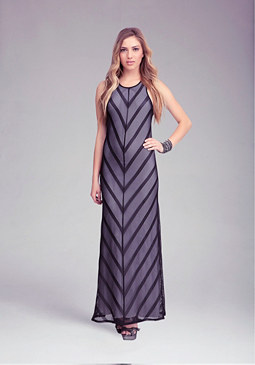 bebe Stripe Mesh Maxi Dress
